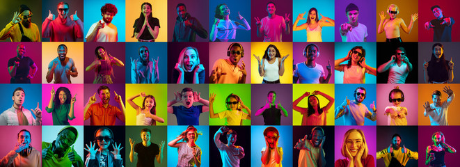Collage of portraits of 30 young emotional people on multicolored background in neon. Concept of human emotions, facial expression, sales, ad. Listening to music, dancing, shocked, laughting.