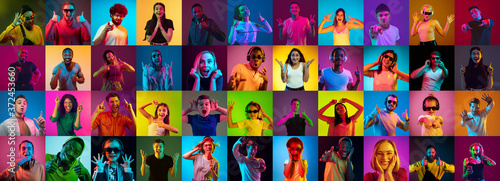 Collage of portraits of 30 young emotional people on multicolored background in neon. Concept of human emotions, facial expression, sales, ad. Listening to music, dancing, shocked, laughting. - 372453660