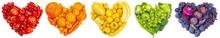 Fruit And Vegetable Heart On White