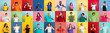 canvas print picture - Collage of portraits of 28 young emotional people on multicolored background. Concept of human emotions, facial expression, sales. Look astonished, celebrating, nice sign, thumbs up, winners.