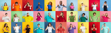 Collage Of Portraits Of 28 Young Emotional People On Multicolored Background. Concept Of Human Emotions, Facial Expression, Sales. Look Astonished, Celebrating, Nice Sign, Thumbs Up, Winners.