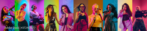 Plakaty muzyka  collage-of-portraits-of-9-young-emotional-talented-musicians-on-multicolored-background-in-neon-light-concept-of-human-emotions-facial-expression-sales-inspied-female-singers-and-djs-performing