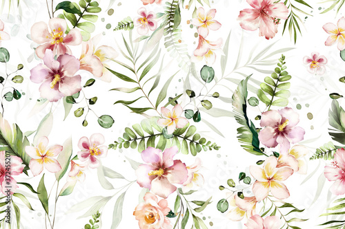 Seamless pattern with tropical leaves and flowers. watercolor  Botanic