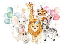 Watercolor Portrait Tiger, Lion, Elephant, Giraffe, Zebra, Lemur, Parrot