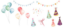 Watercolor Balloons Colorful F...
