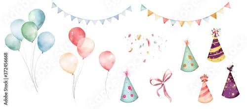 Papel de parede watercolor balloons colorful for party