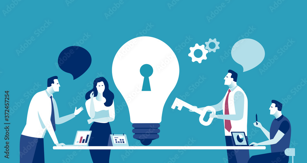 Fototapeta A key solution. Unlock solution. The manager explains how to solve the problem. Vector illustration..