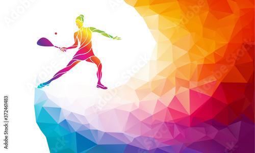 Fotografia, Obraz Creative silhouette of female squash player