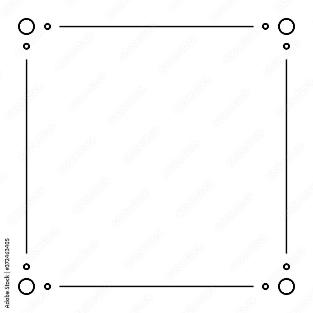 Fototapeta Black Geometric Frame Isolated on White - Geometrical Art Deco Style Template for Invitation Cards, Flyers - Line-Art Vector Design