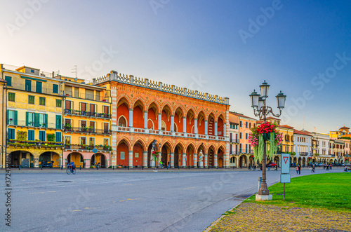 Padua cityscape with Palazzo Loggia Amulea palace neogothic style building and s Wallpaper Mural