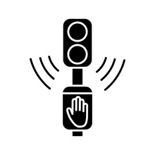 Acoustic Traffic Lights Signals Black Glyph Icon. Audible Traffic Signal For Blind Pedestrians. LED Crosswalk Light. City Infrastructure. Silhouette Symbol On White Space. Vector Isolated Illustration