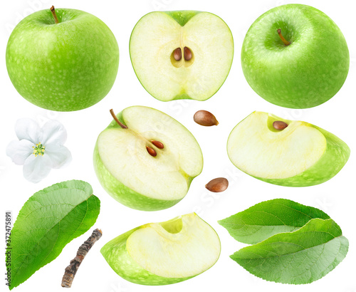 Leinwand Poster Isolated green apples