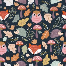 Autumn Seamless Pattern/wallpaper/background With Seasonal Design, Cute Elements, Owl, Fox And Hedgehog