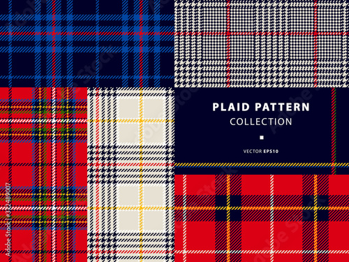 Plaid pattern collection, set with classic red and deep blue