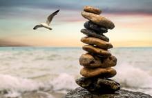 Stones Balance On Beach, Sunri...