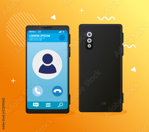 realistic smartphones mockup, with call on screen vector illustration design Wallpaper Mural
