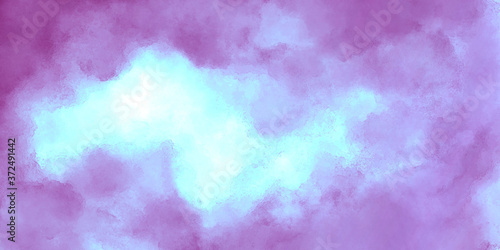Foto grunge deep abstract bright background of lilac color with blue, watercolor brush strokes, color mixing and glow effect