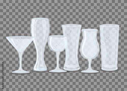 Fotografie, Obraz mockup transparent glasses, transparent empty glasses vector illustration design