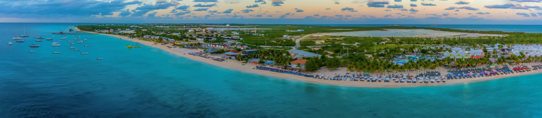 A panorama view along the coast from the cruise terminal on Grand Turk
