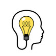 Human head with glowing light bulb inside. Concept of unique idea, innovation and creative thinking. Vector illustration on white background