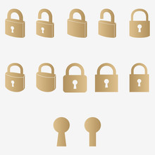 Lock Icons Set, Security Symbols, Open And Closed Padlock. Stock Vector