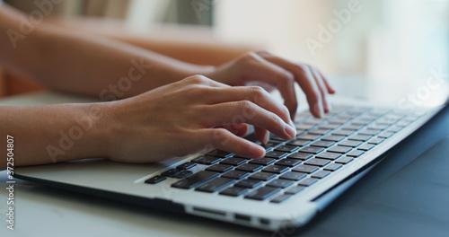 Fotografie, Obraz Woman type on laptop computer