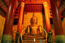 Prajaoluang Srinakonnan, Stunning Golden Large Buddha Image In The Viharn Of Wat Phra That Chang Kham Worawihan Temple In Nan Province, Northern Thailand