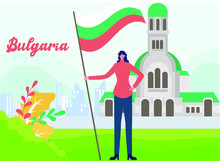 Bulgaria Independence Day Vector Concept: Woman Holding Bulgaria National Flag Confidently In Front Of Rila Monastery