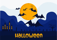 Halloween Vector Concept: Witch Chasing The Werewolf Cosplay Child With Basket Of Candies At The Graveyard