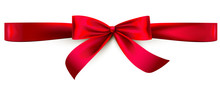 Red Satin Ribbon Bow. Horizont...