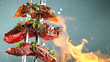 Leinwandbild Motiv Close-up of tasty beef steak on black fork, fire flames in foreground
