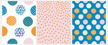 Simple Irregular Dots Seamless Vector Patterns. Pink, Blue And Orange Dots On A White, Blue And Pink Background. Infantile Style Abstract Dotted Print.