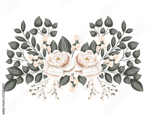 white roses flowers with buds and leaves painting design, natural floral nature Wallpaper Mural