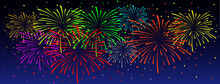 Firework On Twilight Background Sign. Shining Fireworks In The Night Starry Sky. Celebrating For Happy New Year Party, Festive Design. Dark Space With Sparking Bokehs And Stars. Funny Celebration.