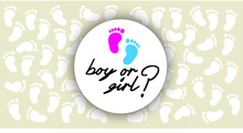Boy Or Girl. Love Heart. Newborn, Pregnant Or Coming Soon Footprints Shoes And Shoe Sole Slogan. Kids Or Baby Feet And Foot Steps Fun Vector Footsteps Icon For Print. Quote Blue Or Pink Sign