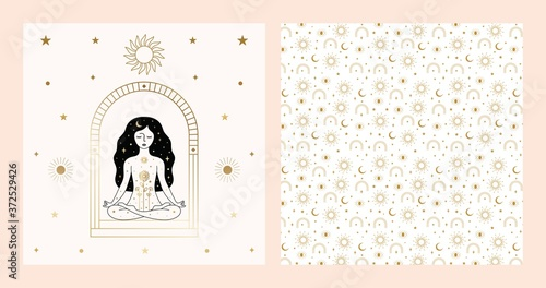 Fototapeta Woman Meditating Card Design in Vector.
