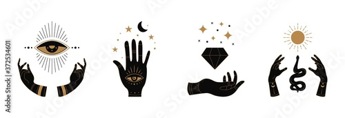 Boho doodle mystic hands. Hand drawn esoteric icons, simple feminine logo set with moon eye sun snake. Vector illustration