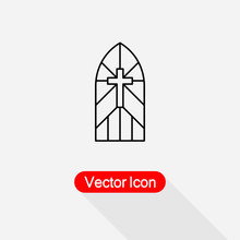 Church Stain Glass Window Icon Vector Illustration Eps10