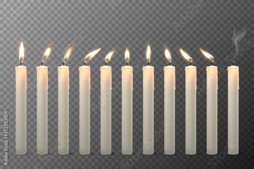 Vector 3d Realistic White Paraffin or Wax Burning Candles with Different Flame Icon Set Closeup Isolated on Transparent Background Canvas Print