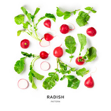 Radish With Leaves Collection And Creative Pattern