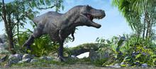 T-Rex - Ferocious Roaring Tyrannosaurus
