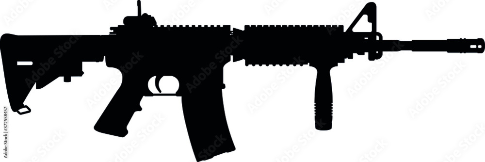 Fototapeta USA United States Army, United States Armed Forces, United States Marine Corps - Police fully automatic machine gun Colt M4 / M16 rifle, officially designated Rifle M4A1 SOCOM Carbine Caliber 5.56 mm