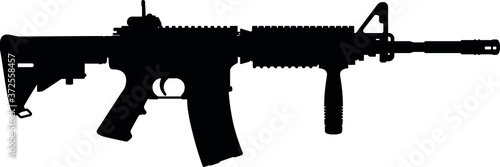 USA United States Army, United States Armed Forces, United States Marine Corps - Police fully automatic machine gun Colt M4 / M16 rifle, officially designated Rifle M4A1 SOCOM Carbine Caliber 5 Tableau sur Toile