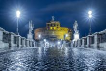 Rome, Italy, IlluminatedPonte SantAngelo At Night