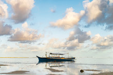 Philippines, Siargao, General Luna, Fishing Boat On Sea At Sunset