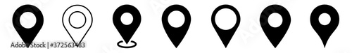 Fototapeta Location Pin Icon Black | Map Marker Illustration | Destination Symbol | Pointer