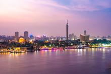 Egypt, Cairo, Nile With Cairo Tower OnGeziraIsland At Dusk
