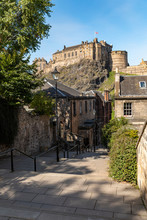 UK, Scotland, Edinburgh, Old Town Alley And Castle