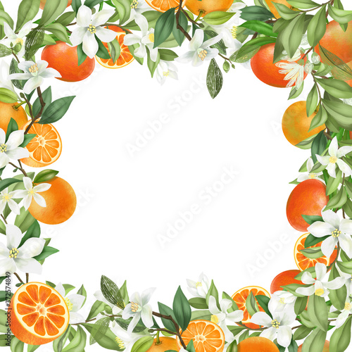 Card template, frame of hand drawn blooming mandarin tree branches, flowers and mandarins on white background