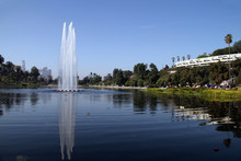 In City Park With Lake Has Three Water Fall Peaks